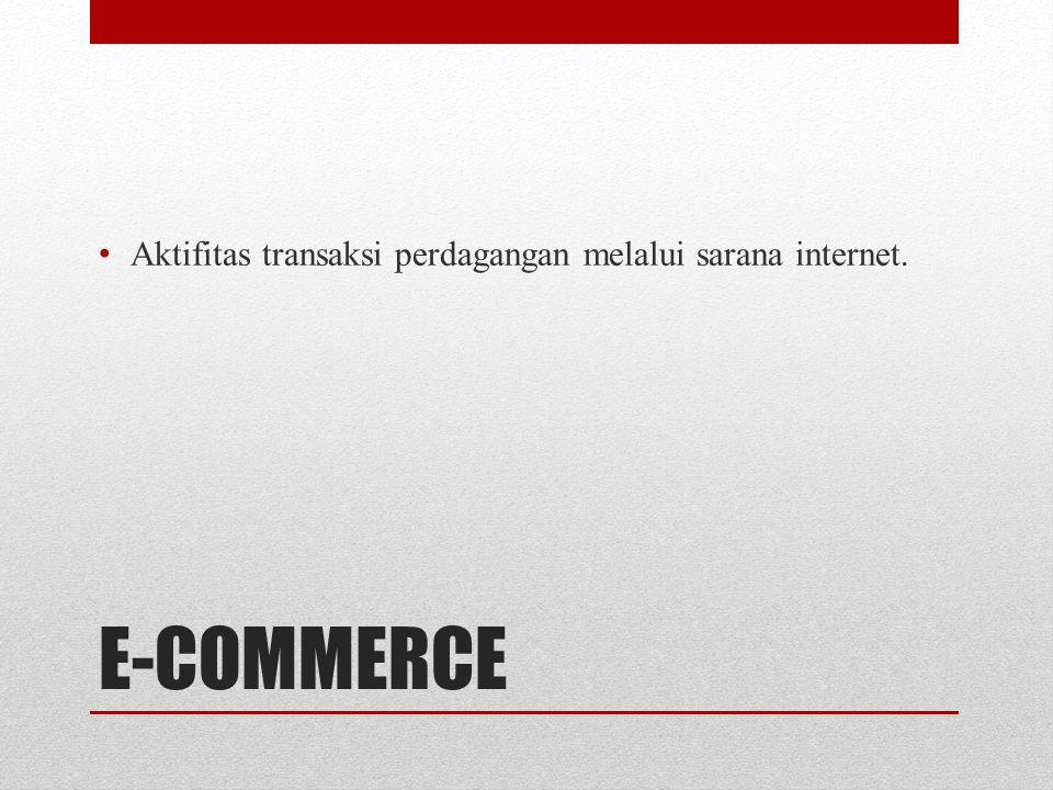 Aktifitas transaksi perdagangan melalui sarana internet.
