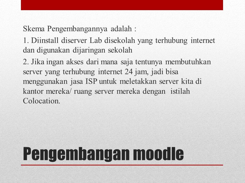 Pengembangan moodle Skema Pengembangannya adalah :