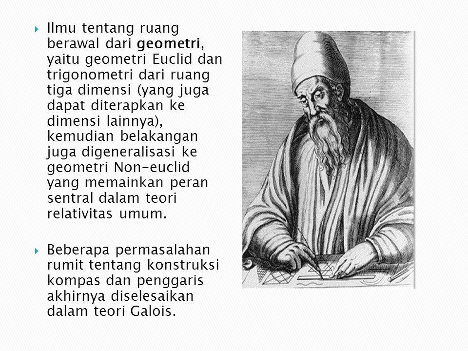 Ilmu tentang ruang berawal dari geometri, yaitu geometri Euclid dan trigonometri dari ruang tiga dimensi (yang juga dapat diterapkan ke dimensi lainnya), kemudian belakangan juga digeneralisasi ke geometri Non-euclid yang memainkan peran sentral dalam teori relativitas umum.