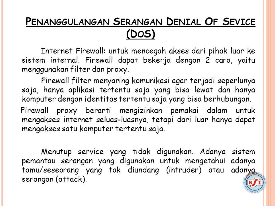 Penanggulangan Serangan Denial Of Sevice (DoS)