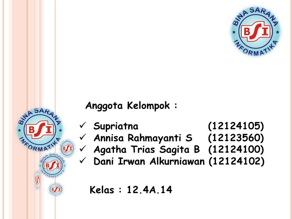 Anggota Kelompok : Supriatna (12124105) Annisa Rahmayanti S (12123560) Agatha Trias Sagita B (12124100)