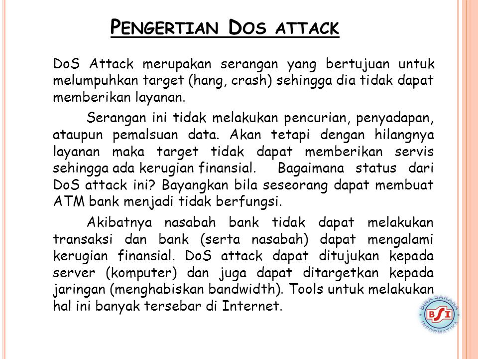 Pengertian Dos attack