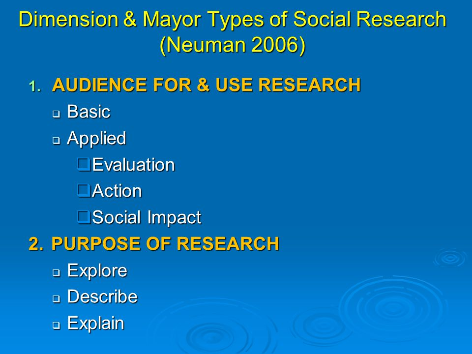 Dimension & Mayor Types of Social Research (Neuman 2006)