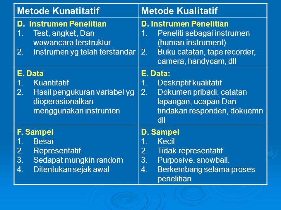 Metode Kunatitatif Metode Kualitatif D. Instrumen Penelitian