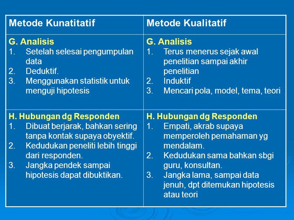 Metode Kunatitatif Metode Kualitatif G. Analisis