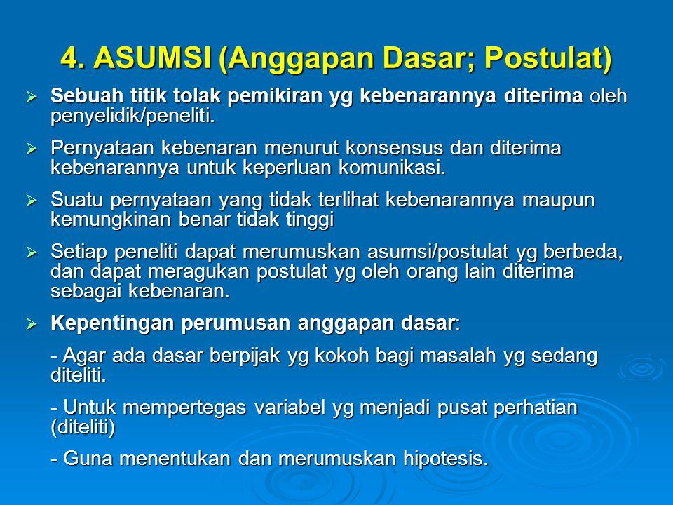 4. ASUMSI (Anggapan Dasar; Postulat)