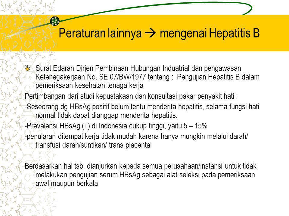 Peraturan lainnya  mengenai Hepatitis B