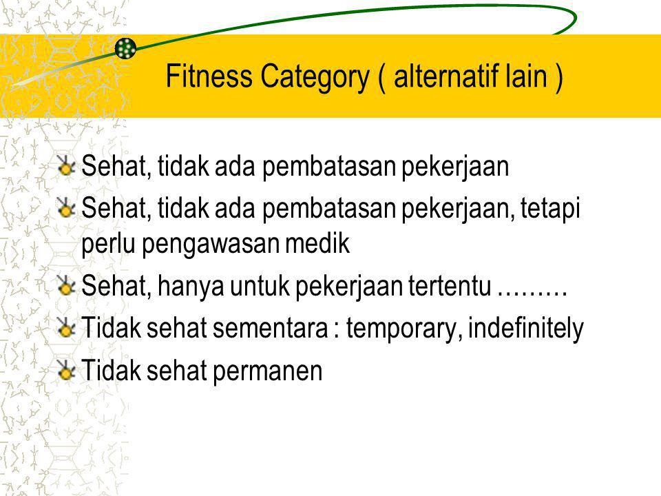 Fitness Category ( alternatif lain )