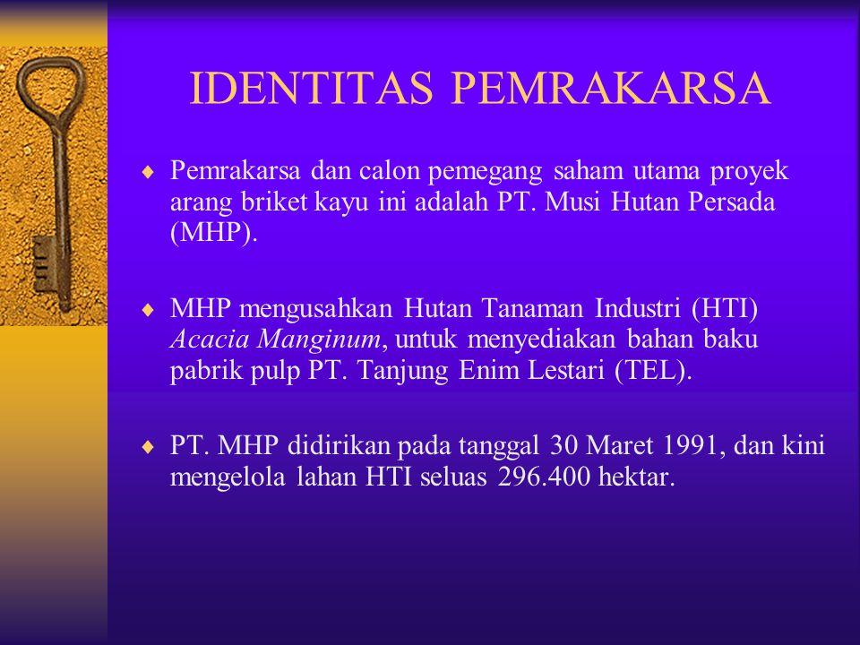 IDENTITAS PEMRAKARSA Pemrakarsa dan calon pemegang saham utama proyek arang briket kayu ini adalah PT. Musi Hutan Persada (MHP).