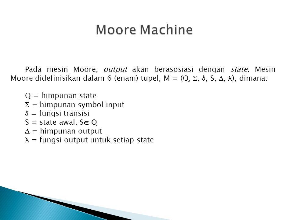 Moore Machine Pada mesin Moore, output akan berasosiasi dengan state. Mesin Moore didefinisikan dalam 6 (enam) tupel, M = (Q, , , S, , ), dimana: