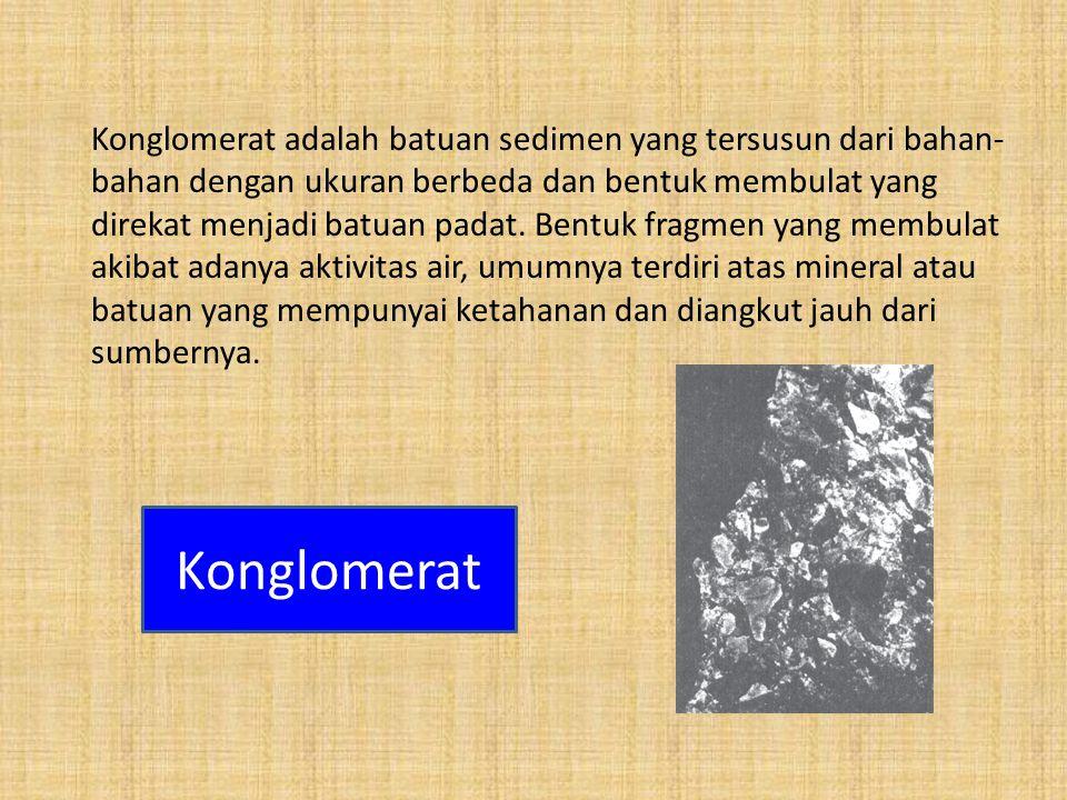 Konglomerat adalah batuan sedimen yang tersusun dari bahan-bahan dengan ukuran berbeda dan bentuk membulat yang direkat menjadi batuan padat. Bentuk fragmen yang membulat akibat adanya aktivitas air, umumnya terdiri atas mineral atau batuan yang mempunyai ketahanan dan diangkut jauh dari sumbernya.