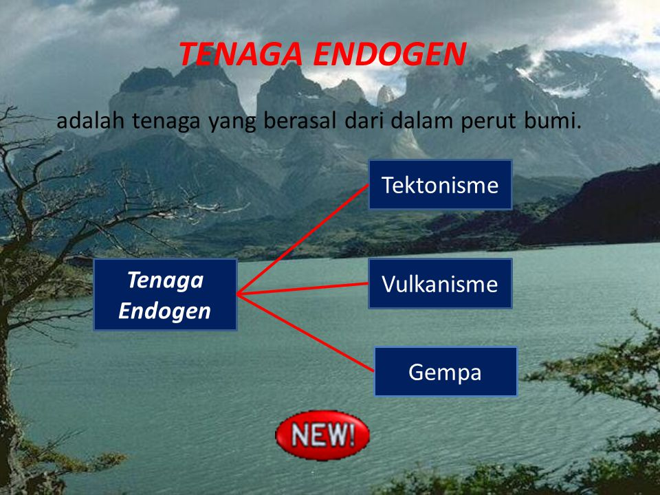 tenaga endogen adalah tenaga yang berasal dari dalam perut bumi.