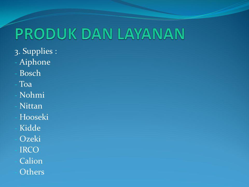 PRODUK DAN LAYANAN 3. Supplies : Aiphone Bosch Toa Nohmi Nittan