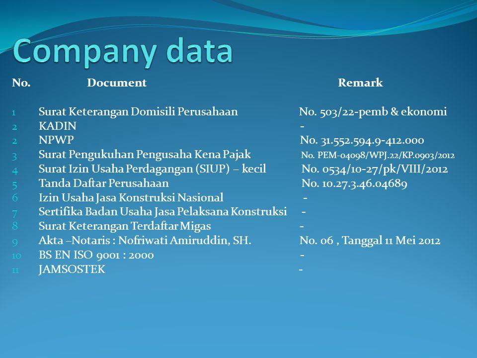 Company data No. Document Remark