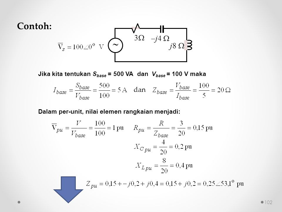 Contoh: 3 j4  j8   Jika kita tentukan Sbase = 500 VA dan Vbase = 100 V maka.