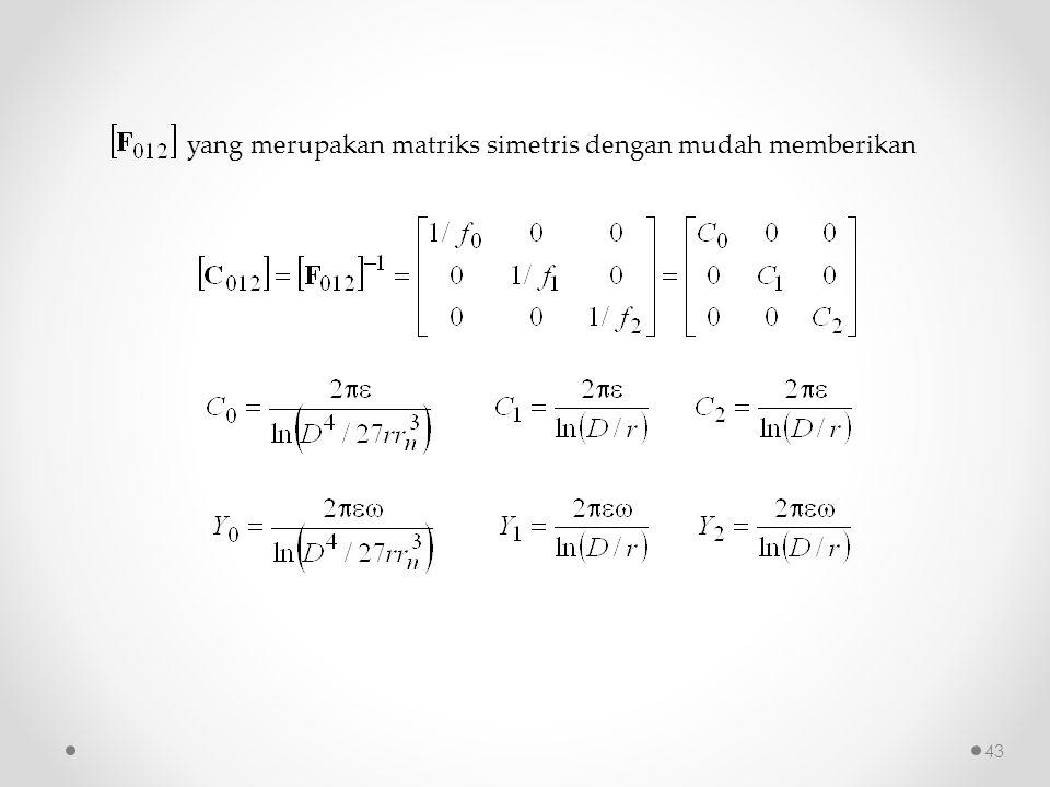 yang merupakan matriks simetris dengan mudah memberikan