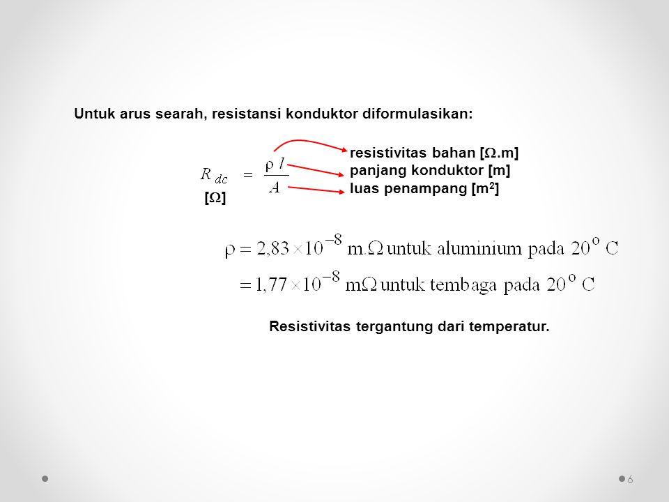Untuk arus searah, resistansi konduktor diformulasikan: