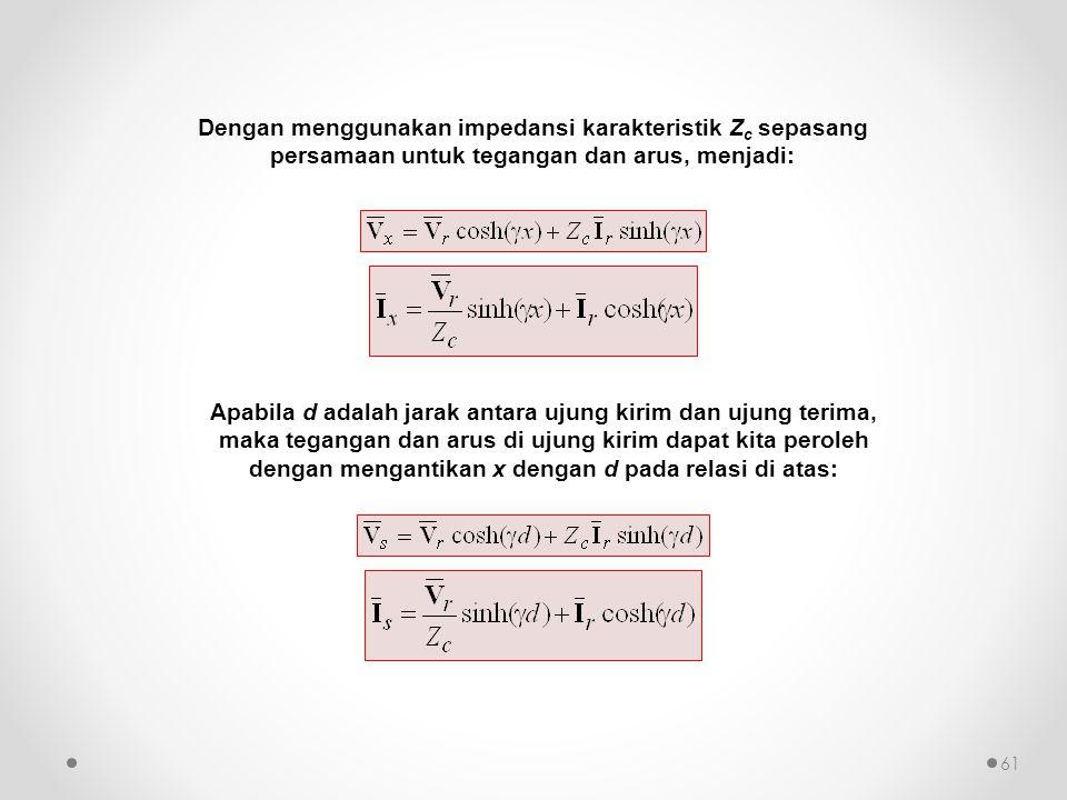 Dengan menggunakan impedansi karakteristik Zc sepasang persamaan untuk tegangan dan arus, menjadi: