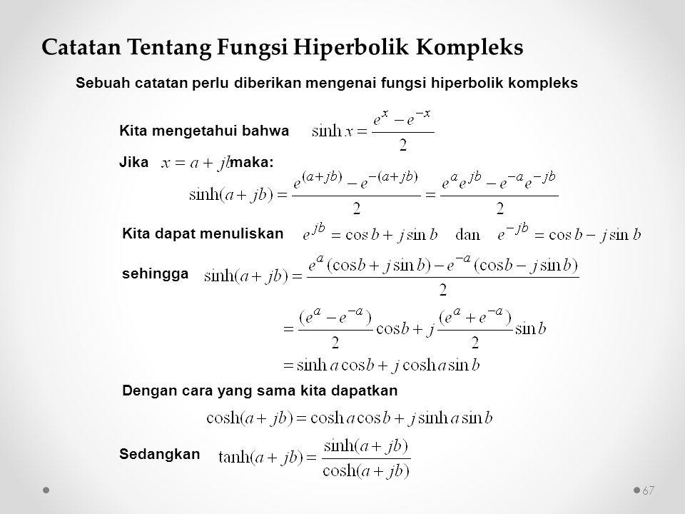 Catatan Tentang Fungsi Hiperbolik Kompleks