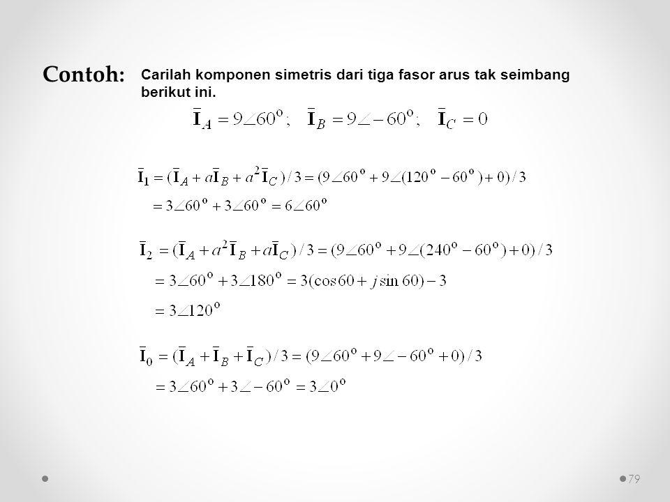 Contoh: Carilah komponen simetris dari tiga fasor arus tak seimbang berikut ini.