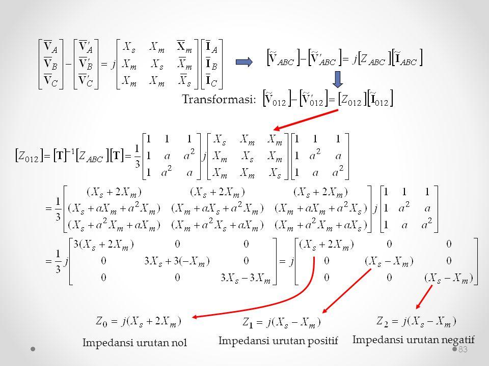 Transformasi: Impedansi urutan positif Impedansi urutan negatif