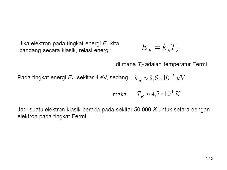 Jika elektron pada tingkat energi EF kita pandang secara klasik, relasi energi: