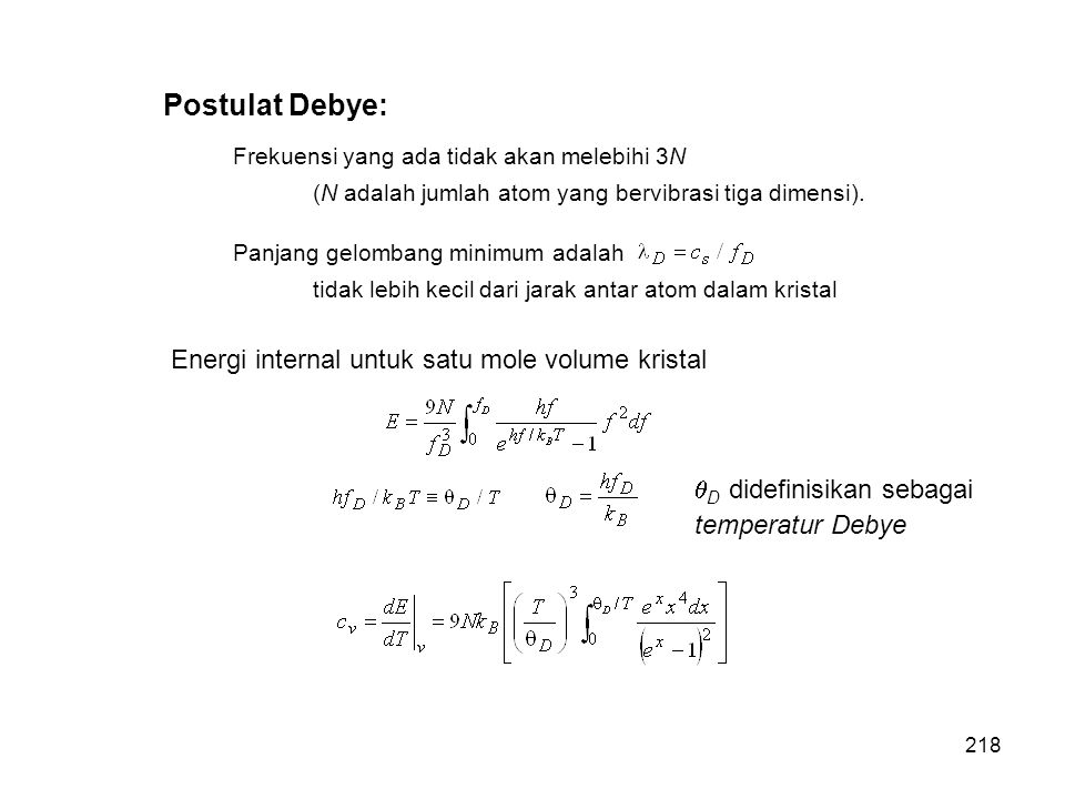 Postulat Debye: Energi internal untuk satu mole volume kristal