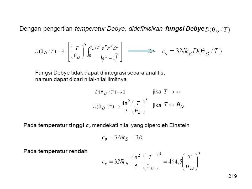 Dengan pengertian temperatur Debye, didefinisikan fungsi Debye