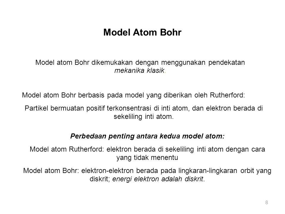 Perbedaan penting antara kedua model atom: