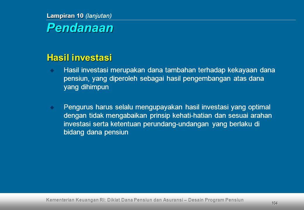 Pendanaan Hasil investasi