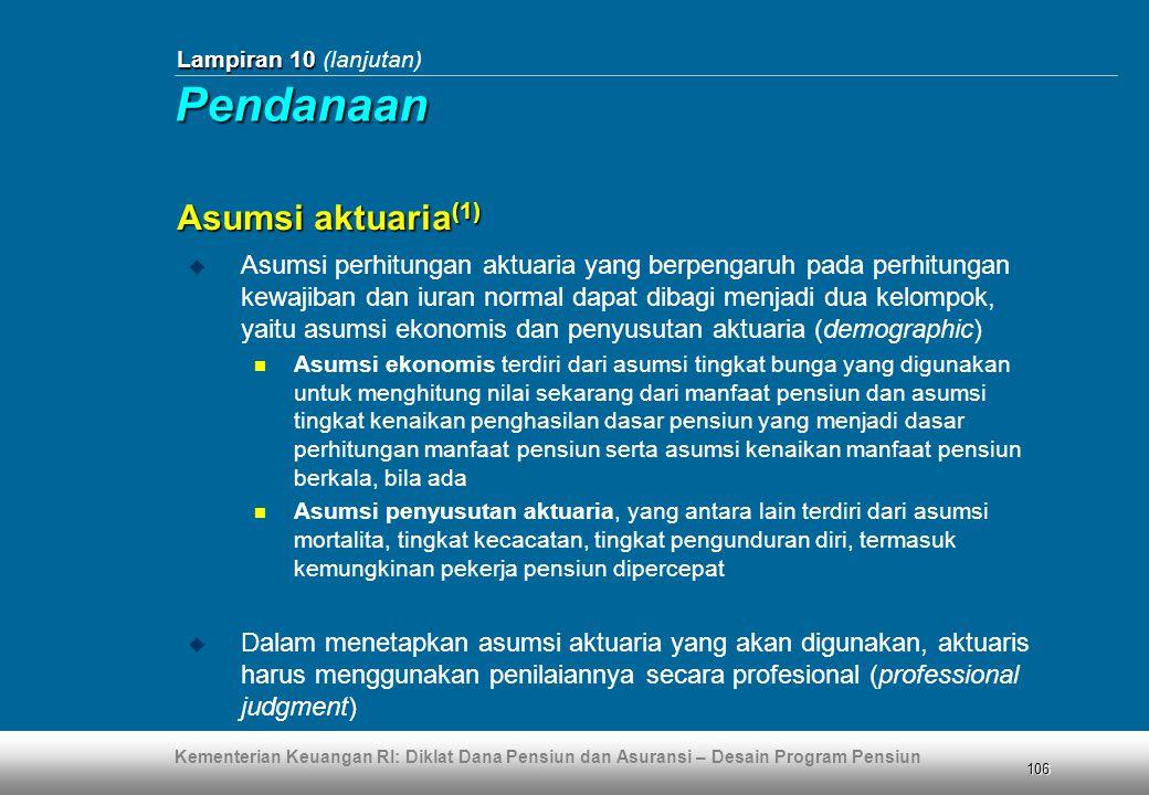 Pendanaan Asumsi aktuaria(1)