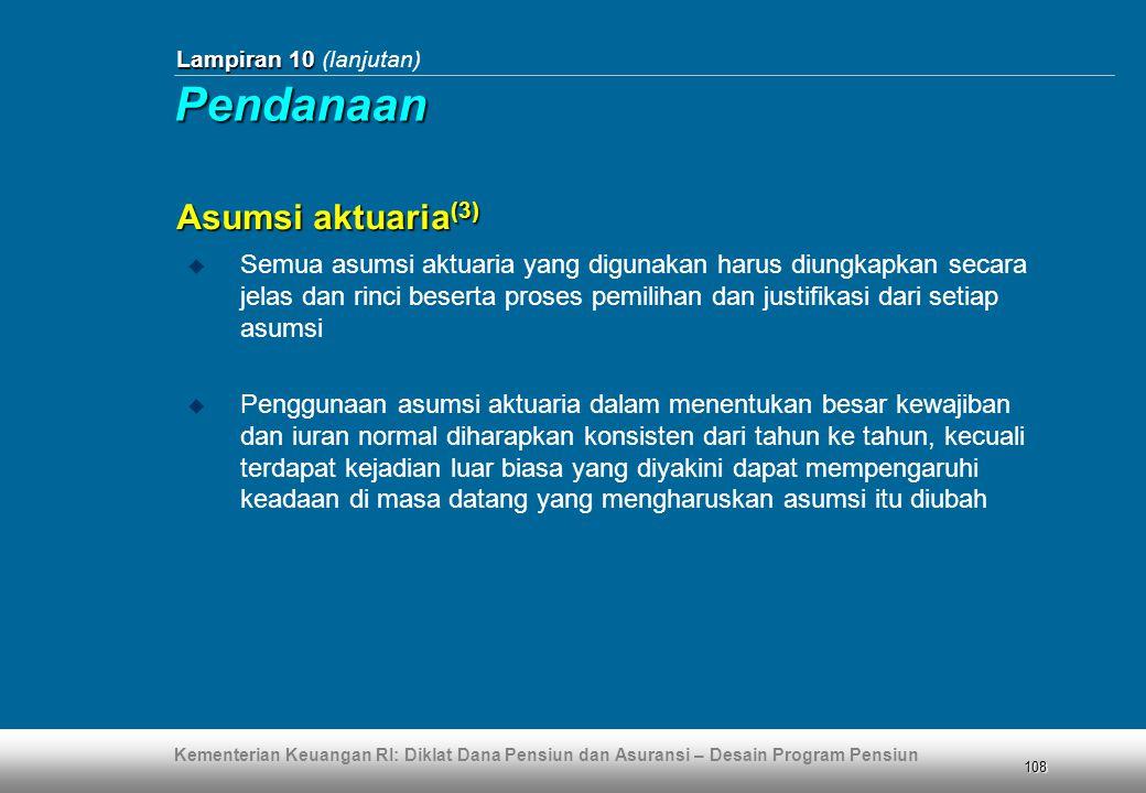 Pendanaan Asumsi aktuaria(3)