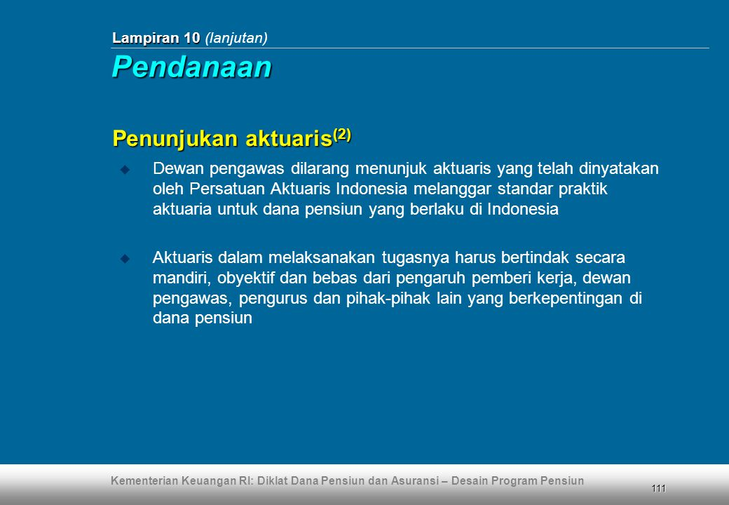 Pendanaan Penunjukan aktuaris(2)