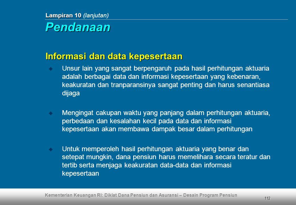 Pendanaan Informasi dan data kepesertaan