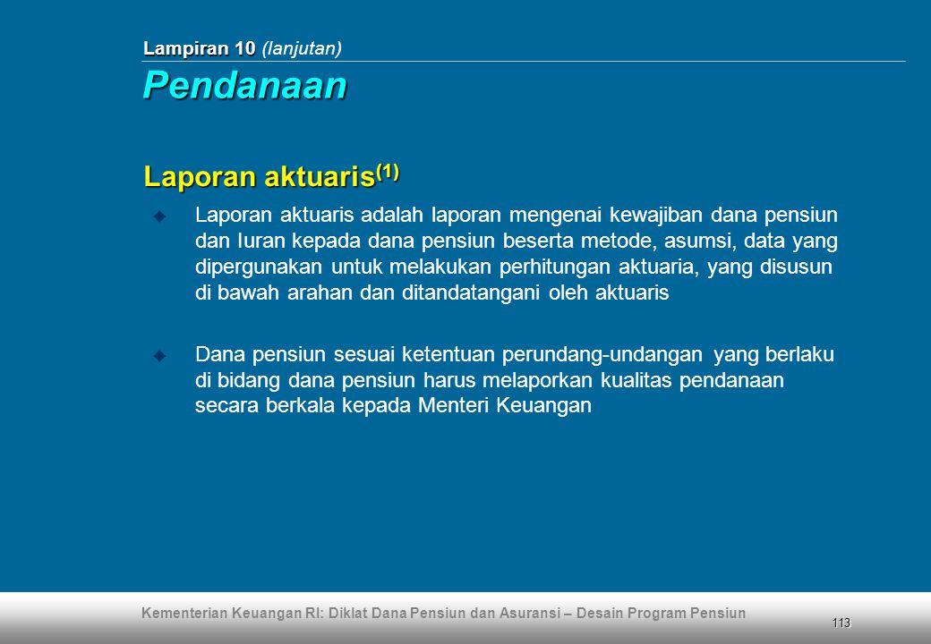 Pendanaan Laporan aktuaris(1)