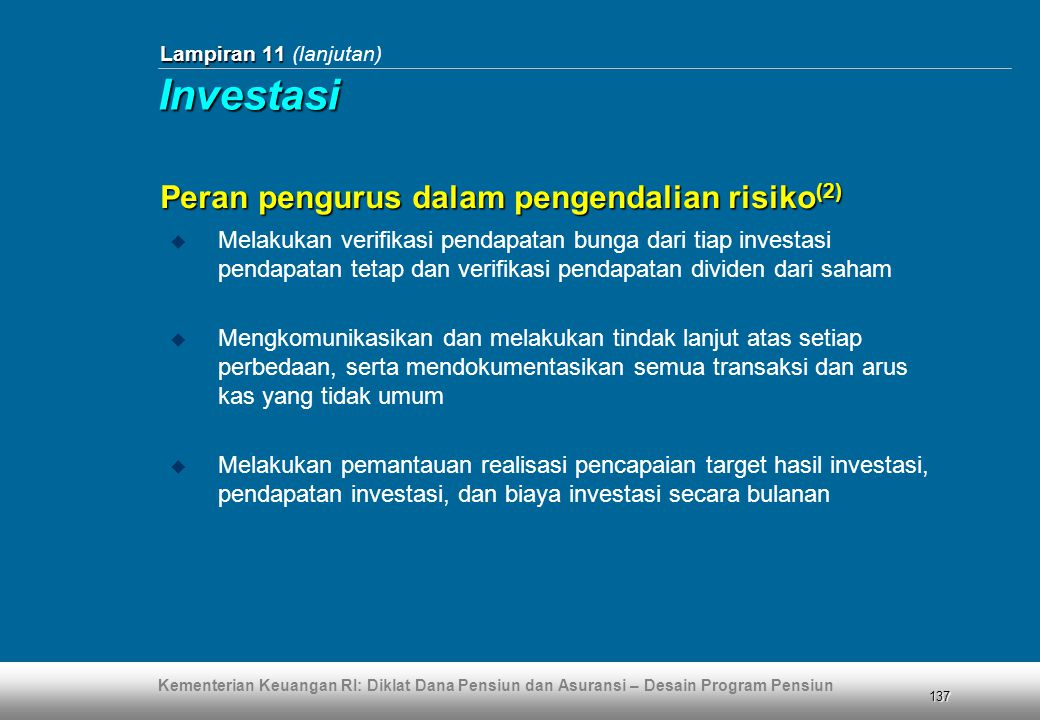 Investasi Peran pengurus dalam pengendalian risiko(2)