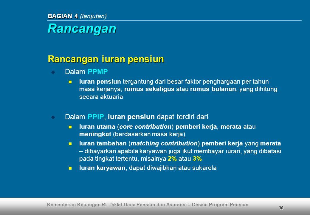 Rancangan Rancangan iuran pensiun Dalam PPMP
