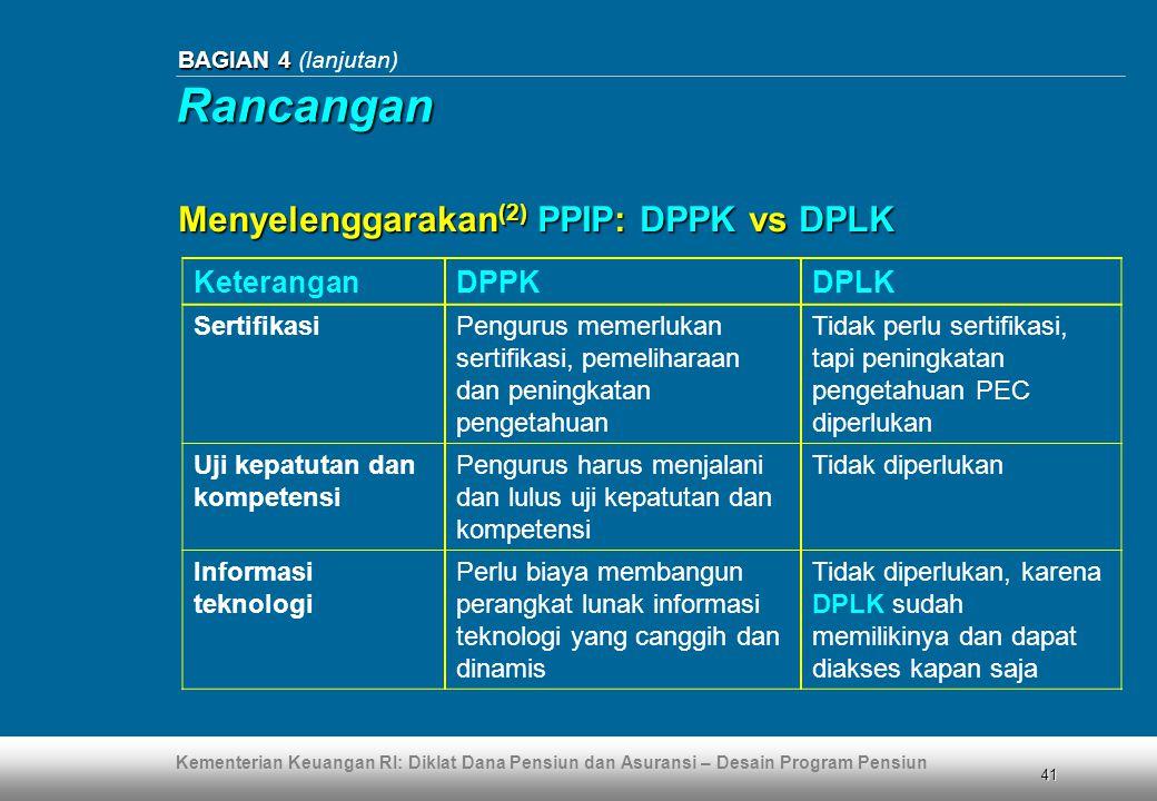 Rancangan Menyelenggarakan(2) PPIP: DPPK vs DPLK Keterangan DPPK DPLK