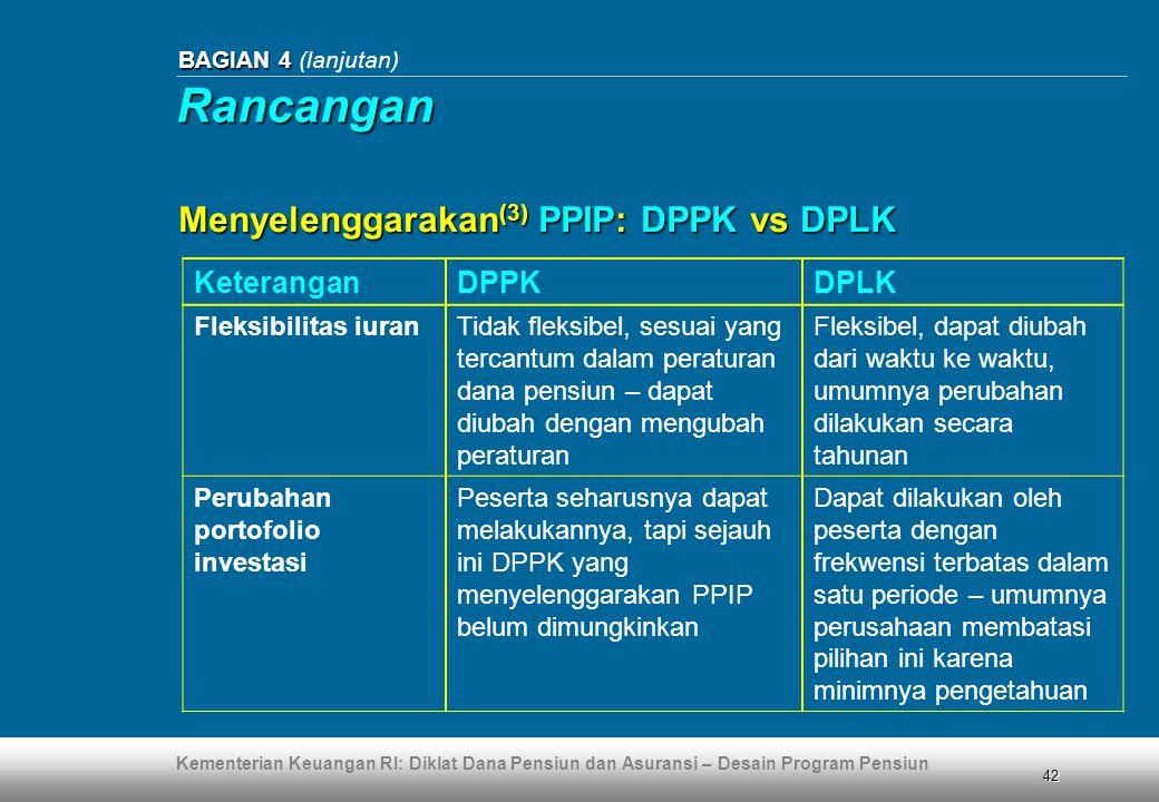 Rancangan Menyelenggarakan(3) PPIP: DPPK vs DPLK Keterangan DPPK DPLK