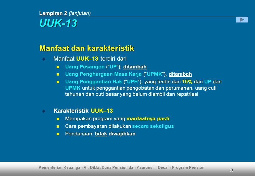 UUK-13 Manfaat dan karakteristik Manfaat UUK–13 terdiri dari