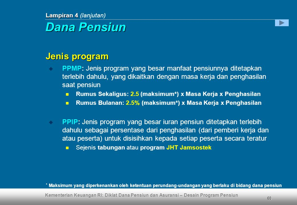 Dana Pensiun Jenis program