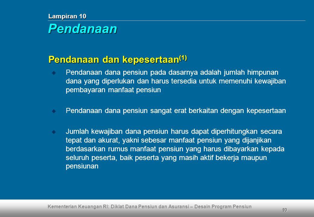 Pendanaan Pendanaan dan kepesertaan(1)