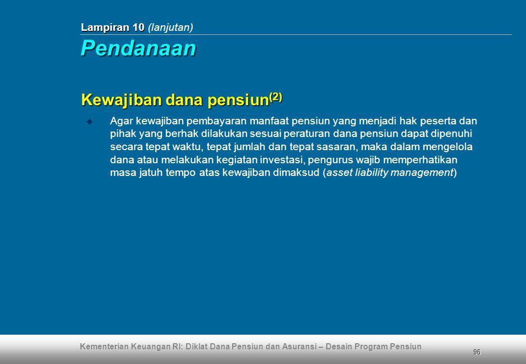 Pendanaan Kewajiban dana pensiun(2) Lampiran 10 (lanjutan)
