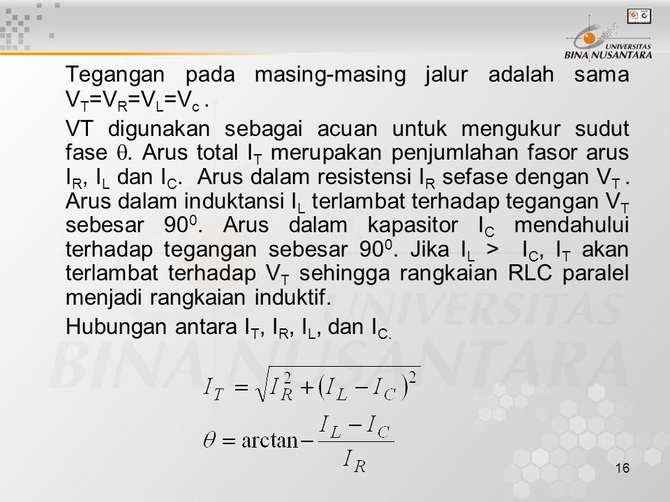 Tegangan pada masing-masing jalur adalah sama VT=VR=VL=Vc .
