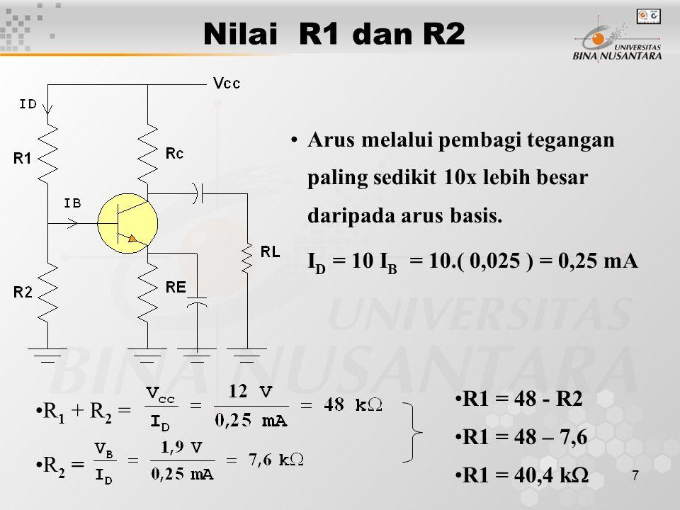 Nilai R1 dan R2 Arus melalui pembagi tegangan