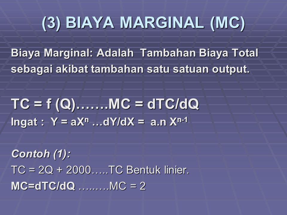 (3) BIAYA MARGINAL (MC) TC = f (Q)…….MC = dTC/dQ