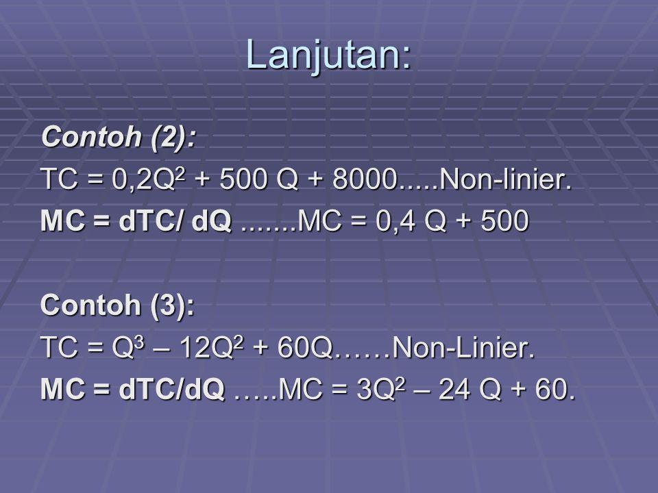 Lanjutan: Contoh (2): TC = 0,2Q2 + 500 Q + 8000.....Non-linier.