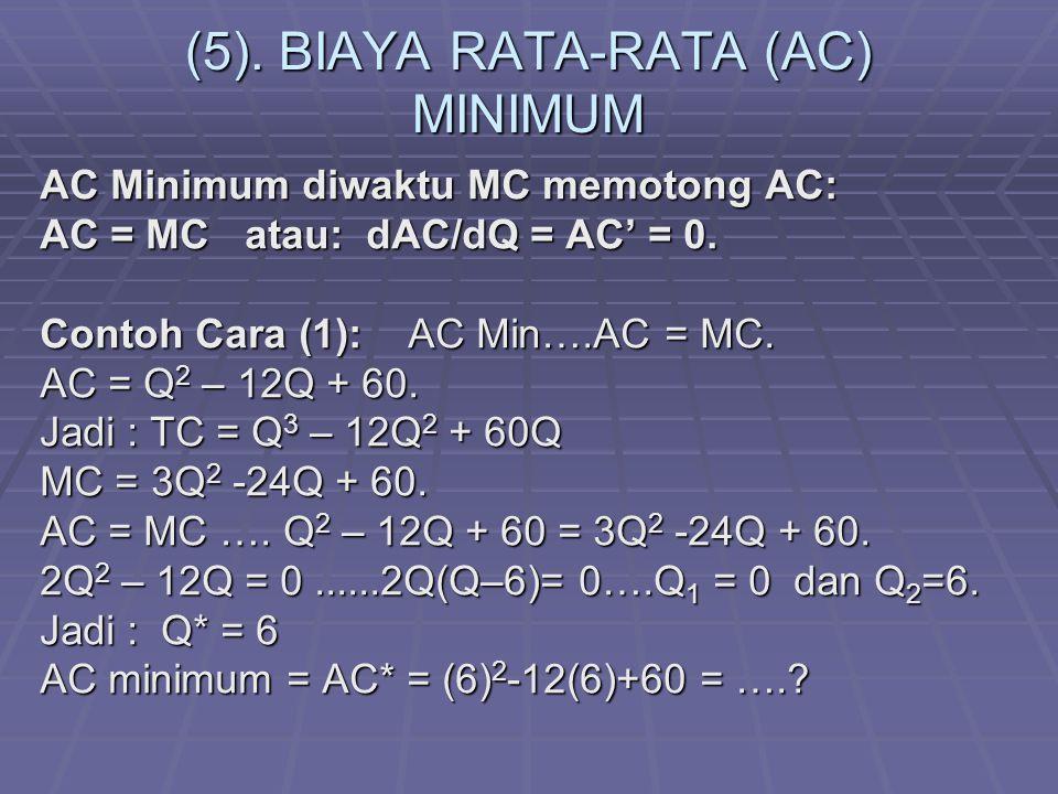 (5). BIAYA RATA-RATA (AC) MINIMUM