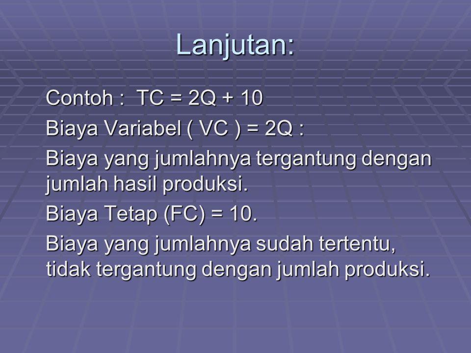Lanjutan: Contoh : TC = 2Q + 10 Biaya Variabel ( VC ) = 2Q :