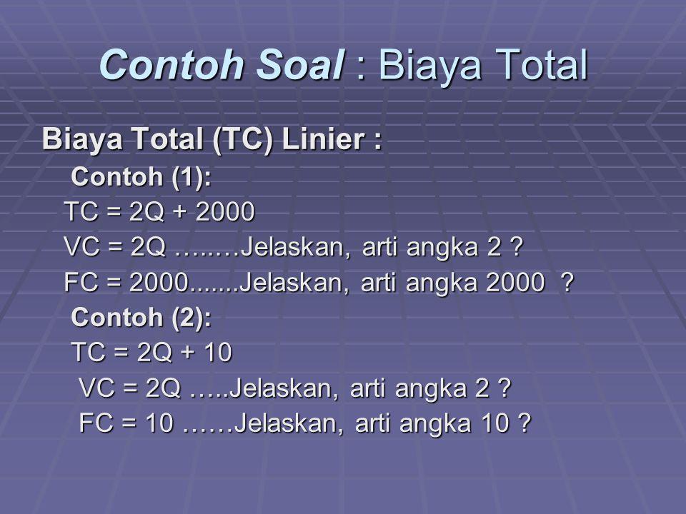 Contoh Soal : Biaya Total
